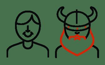 ikona viking z przyjacielem papieru