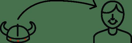 ikona vikinga ze strzałką
